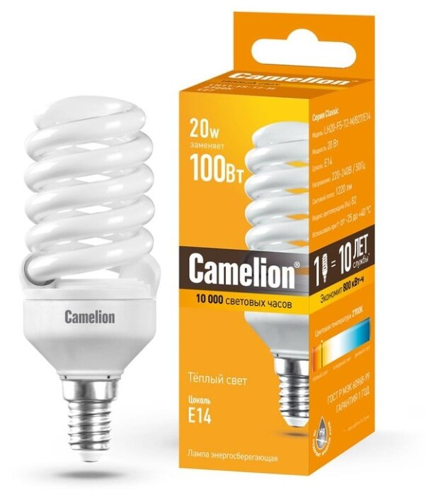 лампа энергосберегающая Camelion Sp E14 20W 2700 112X42(T2) Lh20-Fs-T2-M/827/E14
