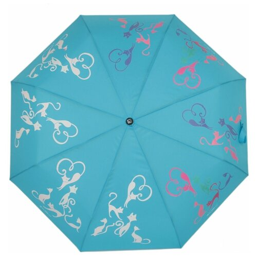 Зонт полуавтомат FLIORAJ Богиня кошка голубой