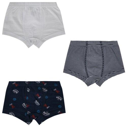 Купить Трусы Leader Kids 3 шт., размер 122-128, белый/синий, Белье и пляжная мода