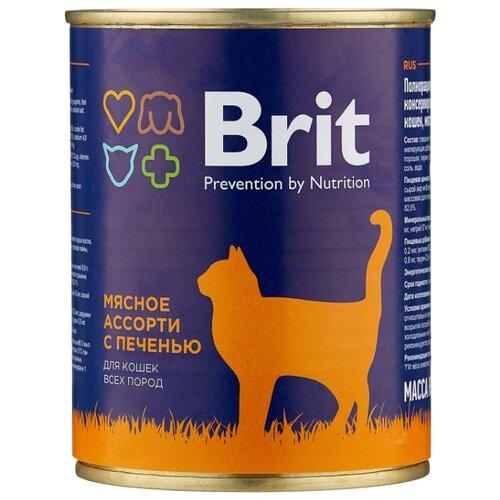 Влажный корм для кошек Brit мясное ассорти, с печенью 340 г (паштет)