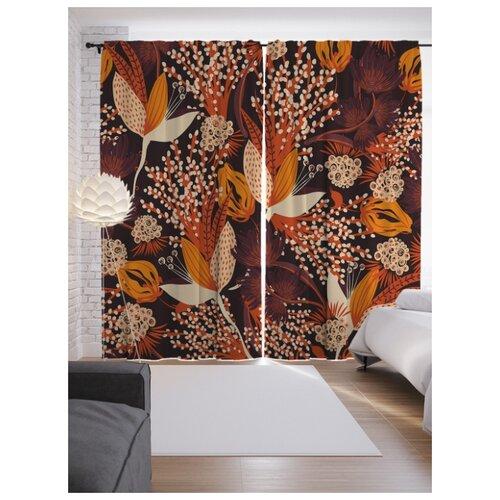 Портьеры JoyArty Осенние цветы на ленте 265 см (p-70672)