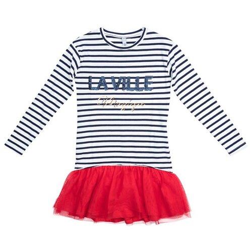 Платье playToday размер 134, белый/черный/красный платье oodji ultra цвет красный белый 14001071 13 46148 4512s размер xs 42 170