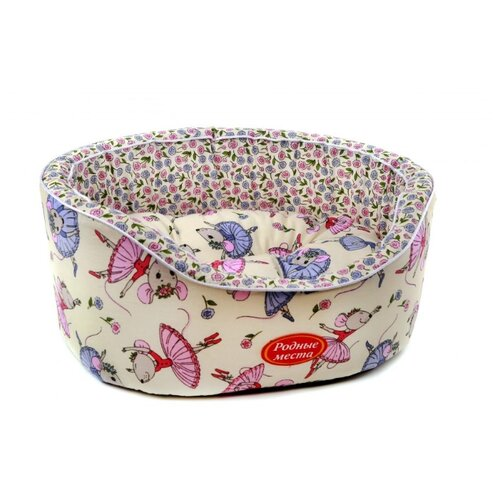 Лежак для собак и кошек Родные места Премиум №1 Цветочные мышки 43х38х15 см белый/розовый/голубой