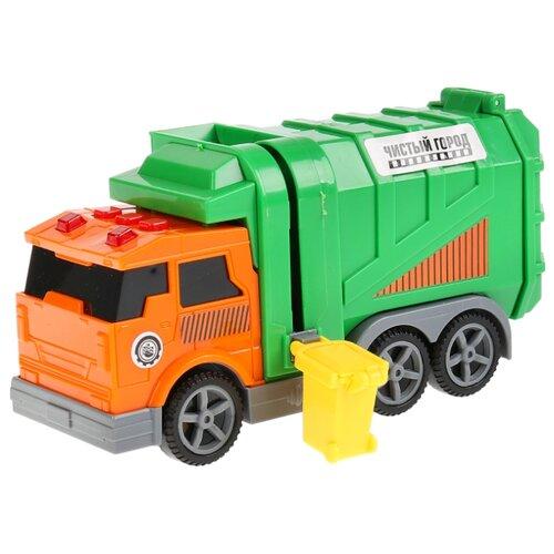 Купить Мусоровоз ТЕХНОПАРК C402-R 17 см оранжевый/зеленый, Машинки и техника