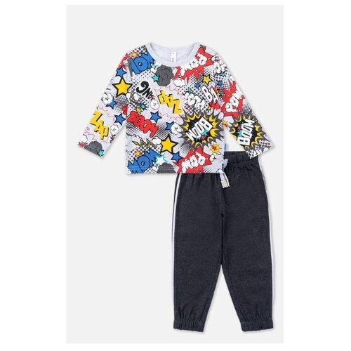 Комплект одежды playToday размер 74, серый/темно-серый/белый комплект одежды playtoday размер 74 темно синий серый