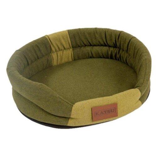 Лежак для собак и кошек Katsu Animal L 79х65х25 см хаки/салатовый салатовый цв 159