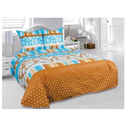 цена на Постельное белье 1.5-спальное ТЕТ-А-ТЕТ Chocolate, бязь коричневый/голубой