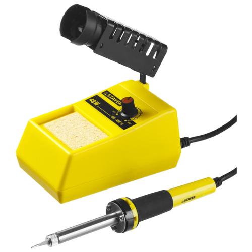 Паяльная станция STAYER Master 55371, 48 Вт желтый/черный паяльная станция stayer 55370 profi цифровая с жк дисплеем диапазон 160 520°c шаг 10°c 48вт