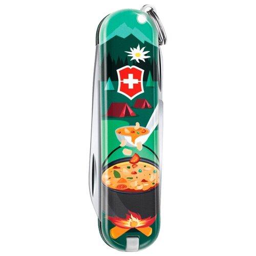 Нож многофункциональный VICTORINOX Classic LE 2019 Swiss mountain Dinner (7 функций) с чехлом зеленый/красный/оранжевый victorinox набор ножей для стейков swiss classic 6 пр 11 см 6 7232 6 victorinox