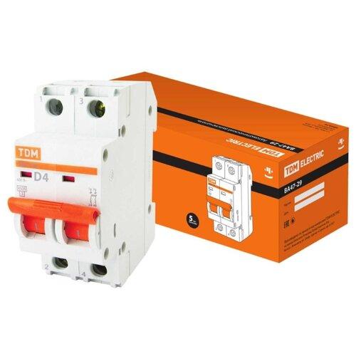 Автоматический выключатель TDM ЕLECTRIC ВА 47-29 2P (D) 4,5kA 4 А автоматический выключатель tdm еlectric пар 1p 4 5 ka 25 а