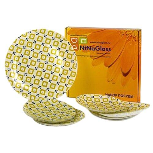 NinaGlass Набор тарелок Клара 85-206 7 шт. белый/серый/салатовый
