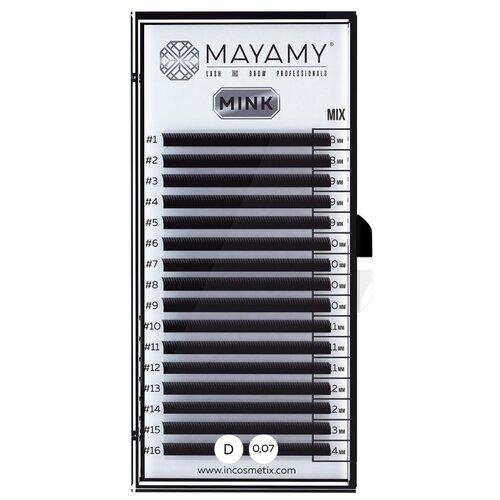 Innovator Cosmetics Ресницы MAYAMY MINK 16 линий D-изгиб 0,07 мм MIX черный i beauty ресницы premium mink 16 линий 12 мм с изгиб 0 20 мм черный