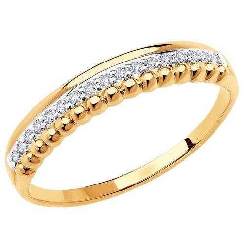 SOKOLOV Кольцо из золота с фианитами 018653, размер 17.5