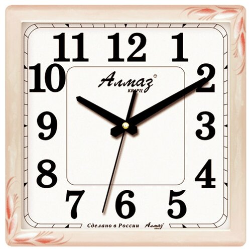 Часы настенные кварцевые Алмаз K70 розовый/белый часы настенные кварцевые алмаз p12 золотистый белый