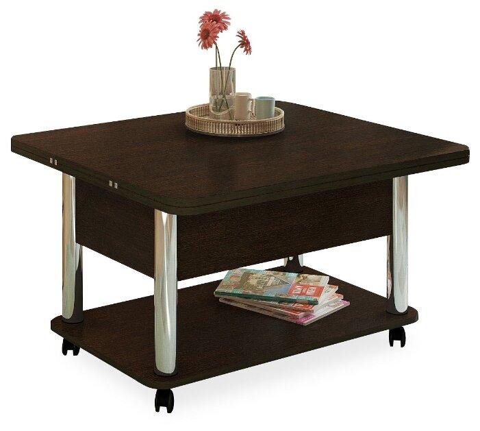 Купить Стол кухонный Форвард-мебель Дебют 3, раскладной, ДхШ: 86 х 72 см, длина в разложенном виде: 172 см, венге темный/хром по низкой цене с доставкой из Яндекс.Маркета