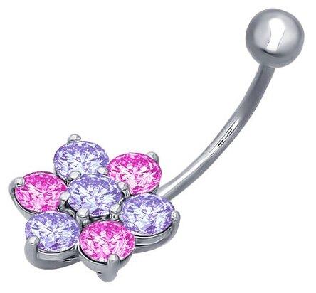 SOKOLOV Пирсинг в пупок из серебра с сиреневыми и розовыми фианитами 94060047