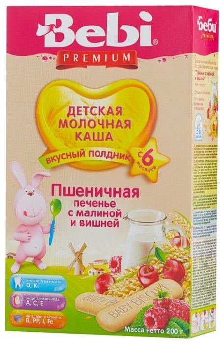 Каша Bebi молочная пшеничная с печеньем, малиной и вишней (с 6 месяцев) 200 г