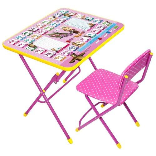 Купить Комплект Nika стол + стул Маша и медведь КУ1/3 60x45 см азбука 3, Парты и столы