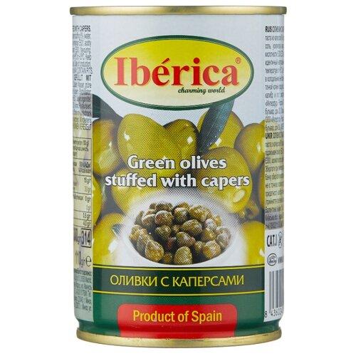 Iberica Оливки с каперсами в рассоле, жестяная банка 300 г iberica оливки с миндалём в рассоле стеклянная банка 370 г