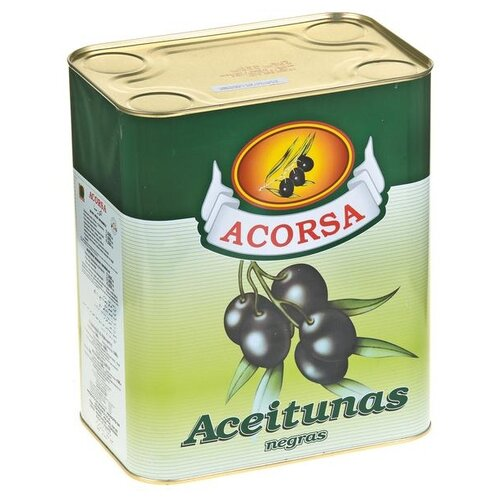 Acorsa Оливки черные c косточкой, жестяная банка 7500 г