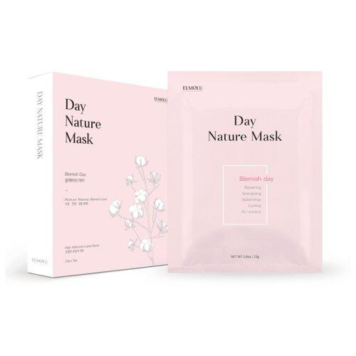 ELMOLU тканевая маска от недостатков кожи Day Nature Mask Blemish day, 23 г, 7 шт. elmolu тканевая маска наполняющая энергией day nature mask energizing day 23 г 7 шт