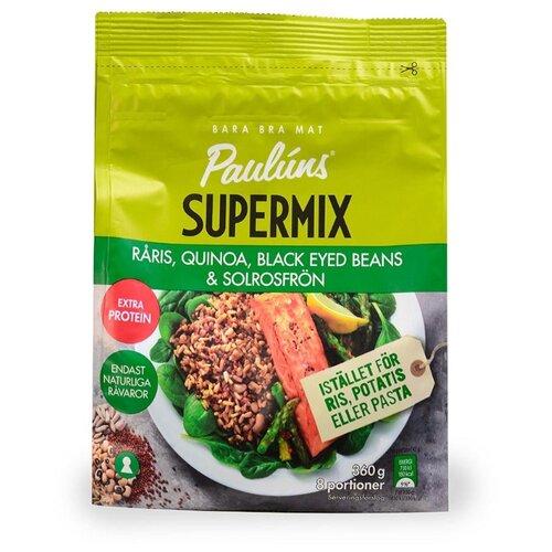 Pauluns Суперсмесь из нешлифованного риса, красной киноа, зеленой чечевицы, фасоли и семян подсолнечника 360 г