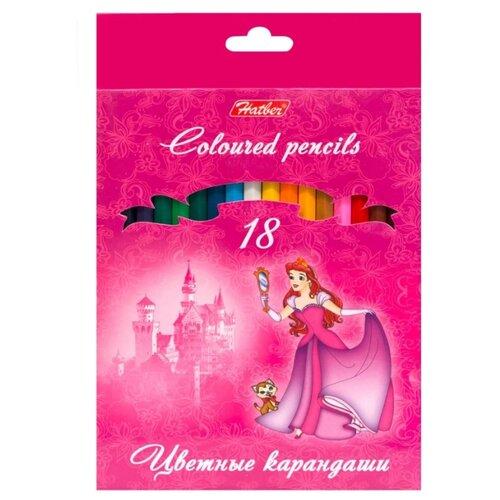 Купить Hatber цветные карандаши Принцессы на розовом, 18 цветов (BKc_18730), Цветные карандаши