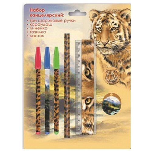 Канцелярский набор Феникс+ Тигр 38027, 7 пр., желтый/черный
