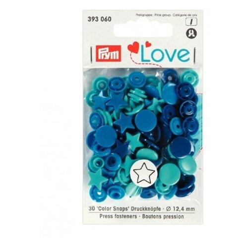 Prym Кнопки непришивные Love - Color Snaps звезда 393060, синий/бирюзовый/чернильный 12.4 мм, 30 шт.