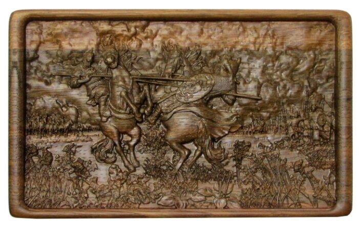 Домино Rovertime в резной шкатулке Поединок Пересвета с Челубеем на Куликовом поле, мореный дуб