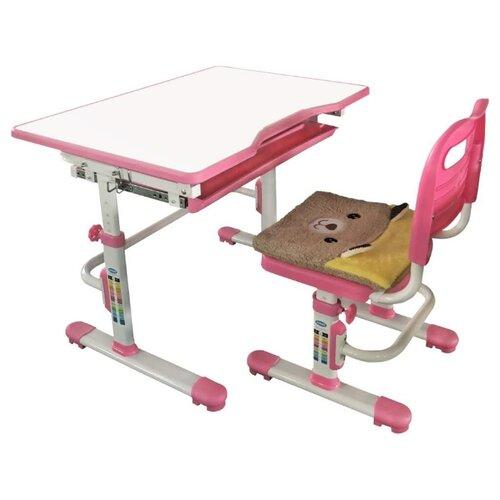 Купить Комплект Rifforma стол + стул SET-10 80x55 см розовый, Парты и столы