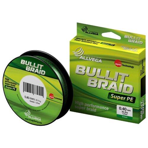 Плетеный шнур ALLVEGA BULLIT BRAID dark green 0.4 мм 135 м 36.3 кг