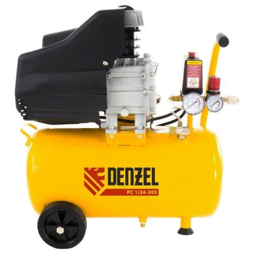 Компрессор масляный Denzel PC 1/24-205, 24 л, 1.5 кВт компрессор масляный denzel oc 1 24 206 24 л 1 5 квт