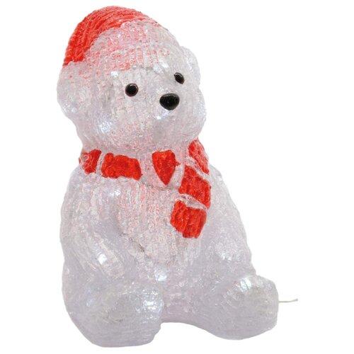 Фигурка Kaemingk Медведь в красном колпачке и шарфе светодиодный 27,5 см (492099) белый фигурка гном в вязанном колпачке