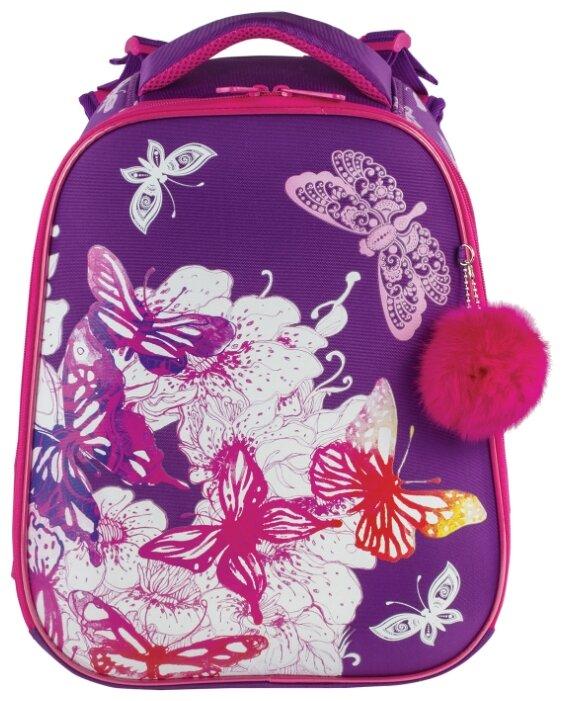 Ранец BRAUBERG PREMIUM, 2 отделения, с брелоком, дополнительный объем, для девочек, Бабочки, 38х29х18 см, 227811