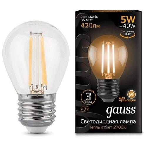 Лампа светодиодная gauss 105802105, E27, G45, 5Вт лампа светодиодная gauss 105101210 e14 g45 9 5вт