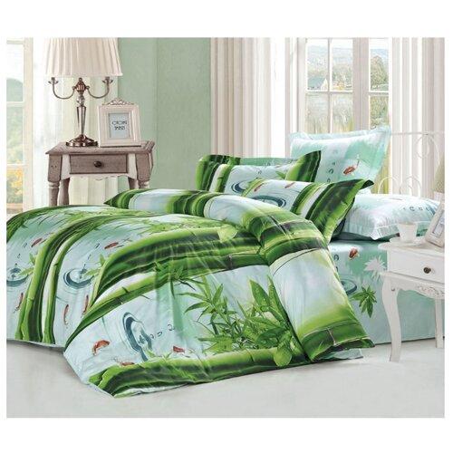 цена Постельное белье 2-спальное СайлиД B-153, сатин белый / зеленый онлайн в 2017 году