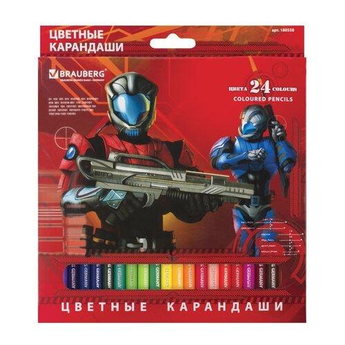 Купить BRAUBERG Карандаши цветные Star Patrol 24 цвета (180558), Цветные карандаши