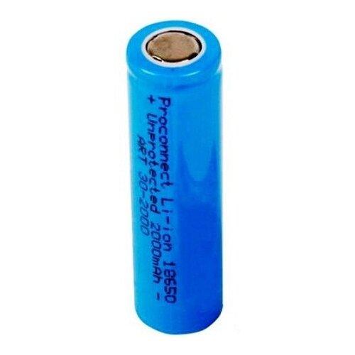 Фото - Аккумулятор Li-Ion 2000 мА·ч PROconnect 18650, 1 шт. аккумулятор li ion 2600 ма·ч robiton sam2600 high top незащищенный 18650 1 шт