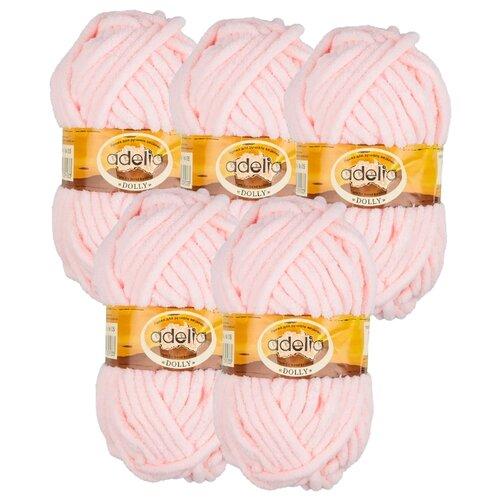 Купить Пряжа Adelia Dolly однотонная, 100 % полиэстер, 100 г, 40 м, 5 шт., №05 св.розовый