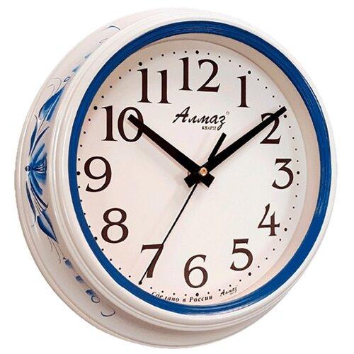 Часы настенные кварцевые Алмаз C04-C10 белый/синий часы настенные кварцевые алмаз c04 c10 бежевый с рисунком белый