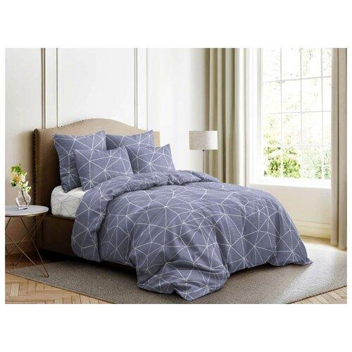 цена на Постельное белье 2-спальное с евро простыней Ночь Нежна Грани 70х70 см, поплин серый