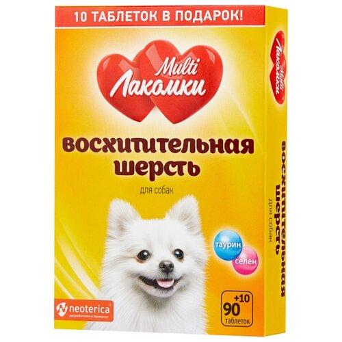 Добавка в корм Multi Лакомки для собак Восхитительная шерсть 100 таб.