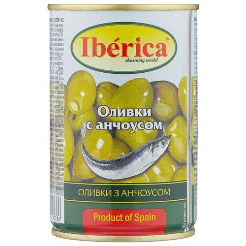 Iberica Оливки с анчоусом в рассоле, жестяная банка 300 г iberica маслины мини с косточкой в рассоле жестяная банка 300 г