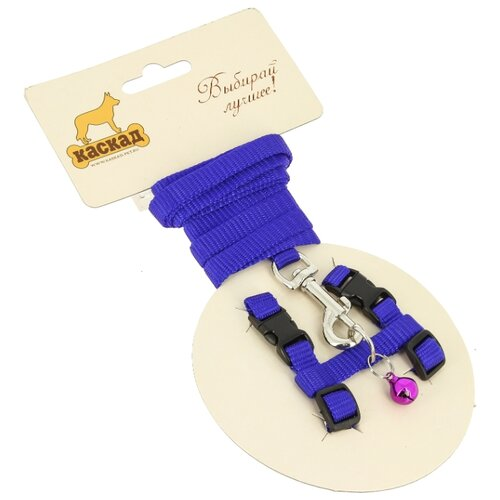 КАСКАД шлейка с поводком для грызунов Synthetic XS (обхват груди 15-25 см) синий