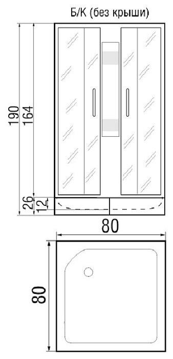 Душевая кабина River Neva 80/26 б/к средний поддон 80см*80см
