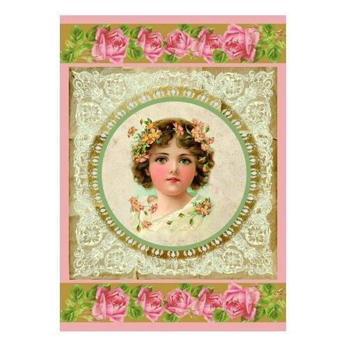 Купить Бумага рисовая мини - формат Девочка и кружево 21 х 29, 7 см (A4) 1 лист, Stamperia, Карты, салфетки, бумага