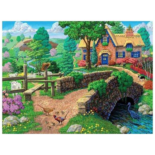 Купить Алмазная вышивка Painting Diamond Деревня у реки , 50x40, Алмазная живопись, Алмазная мозаика