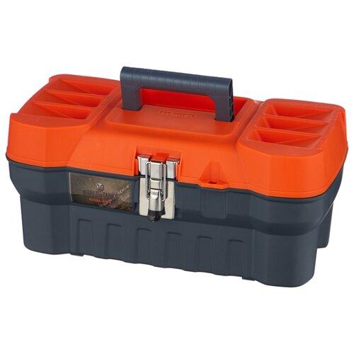 Ящик BLOCKER World of Tanks BR5014 40.8x21x18 см 16'' серо-свинцовый/оранжевый ящик для инструментов blocker world of tanks br5016срсвцор 51 х 26 х 22 см