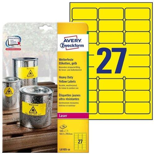 Фото - Этикетки всепогодные, 63,5x29,6 мм, полиэстер, 540 штук, 20 листов, желтые этикетки всепогодные 99 1x139 мм удаляемые 80 штук 20 листов белые